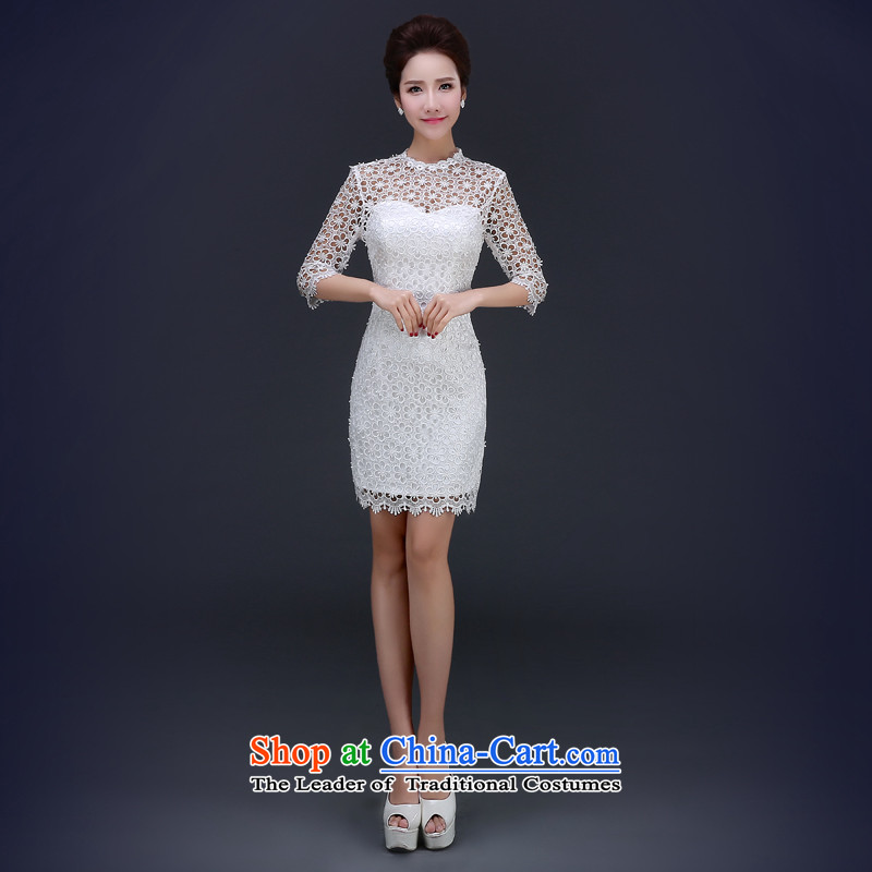 Jie Mija?2015 Spring New marriages bows services white short of Qipao Sau San Chinese cheongsam dress short qipao white?XS