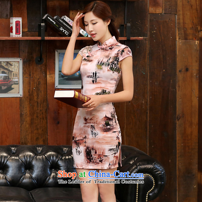 Indemnity Joice 2015 new summer short-sleeved stamp cheongsam dress low girl of the forklift truck daily cheongsam dress�1 paintings hill燬