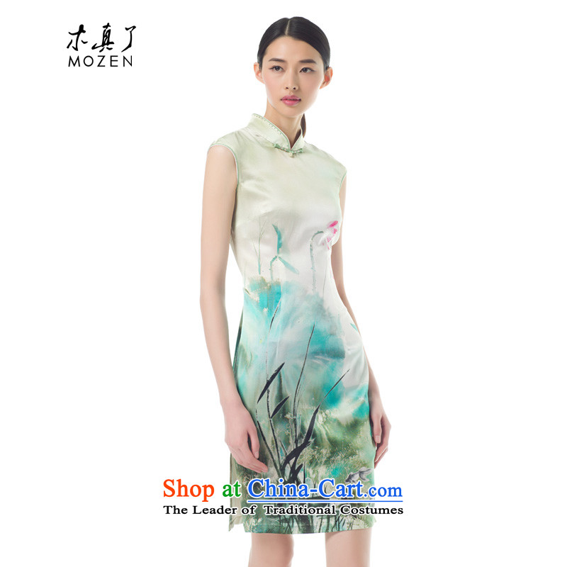 The women's true   the spring and summer of 2015, the new Silk stretch the intuition of the ink lotus short flag classical style qipao NO.21850 visitor 15 light green XXL
