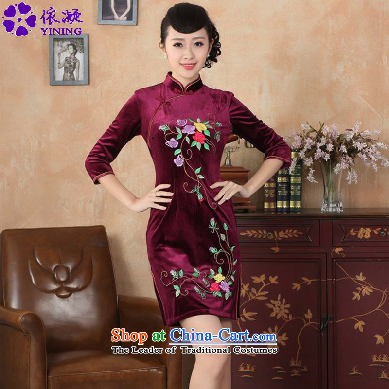 In accordance with the fuser trendy new for women to improve their daily Tang dynasty qipao stretch of filigree embroidered short-sleeved qipao in Sau San skirt聽LGD_TD0042_聽wine red 2XL