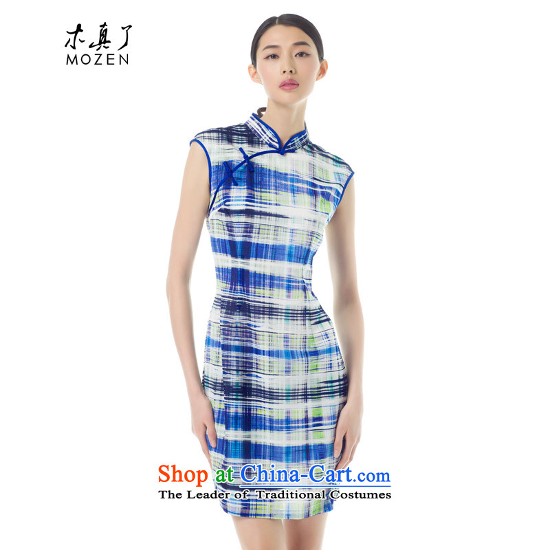 Wood in day-to-day of nostalgia for the improvement of true cheongsam dress 2015 new summer stylish chiffon cheongsam dress 42813-11 light blue XL