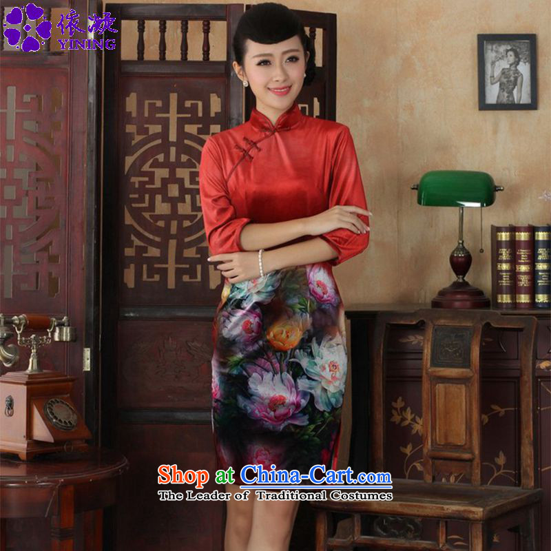 In accordance with the stylish new nation gel wind improved women's dresses Kim scouring pads Poster 7 cuff qipao skirt�LGD/TD0034# Sau San�figure�L