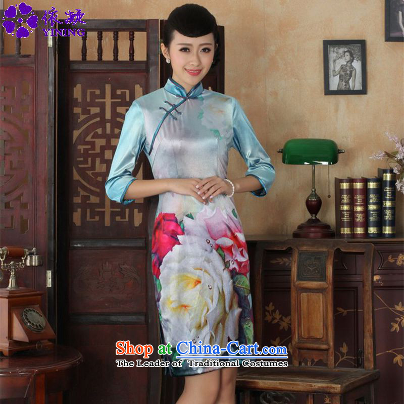 In accordance with the fuser trendy new for women retro ethnic poster Kim scouring pads Sau San 7 Cuff Tang dynasty cheongsam dress LGD/TD0030# figure L