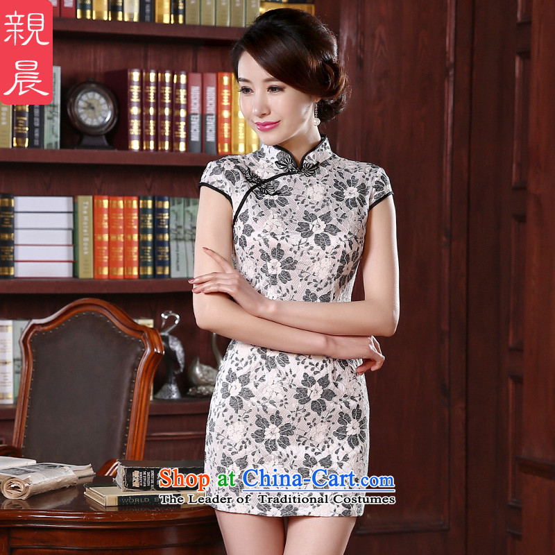 At 2015 new pro-lace cheongsam dress fall short of summer short-sleeved daily female cheongsam dress and the relatively short time, improved�L