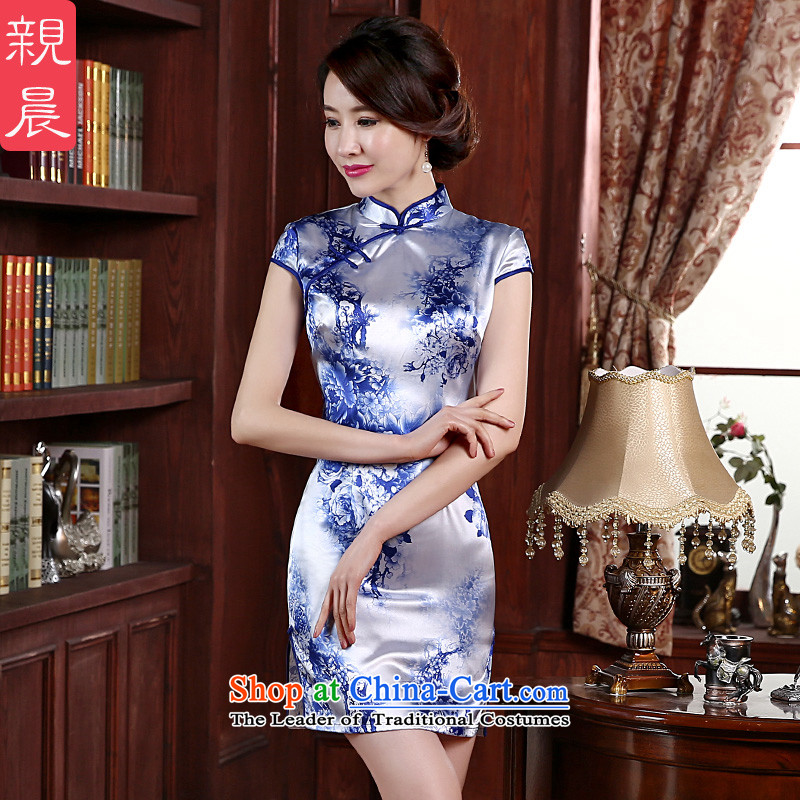 At 2015 new parent cheongsam clothes fall short of summer short-sleeved qipao skirt improved daily Ms. stylish short,?2XL