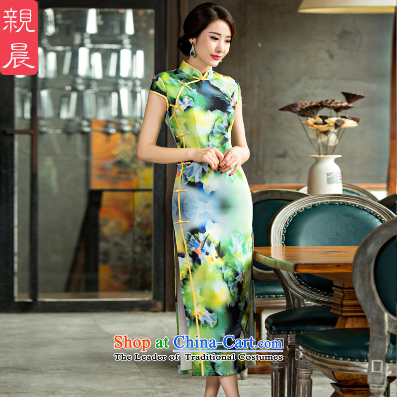 The pro-am cheongsam dress improved stylish new daily autumn 2015 Long Short-sleeved Ms. cheongsam dress summer long?S