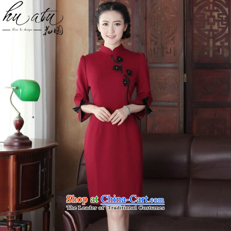 Floral qipao female Chinese improved collar manually stereo spend maschen-moden cheongsam dress banquet service wine red�L Cheongsam