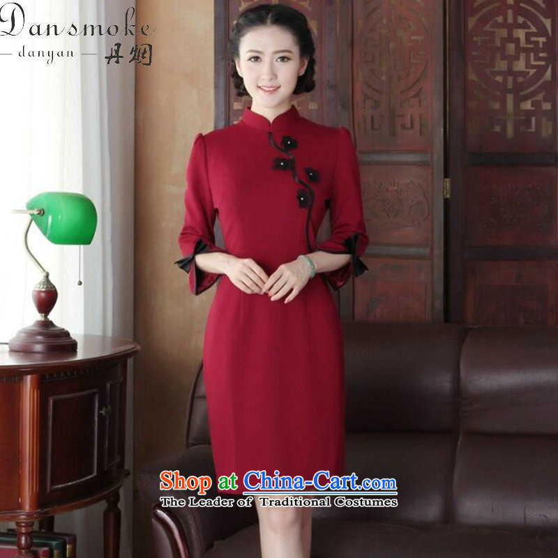 Dan smoke cheongsam dress Chinese improved collar manually stereo spend maschen-moden cheongsam dress banquet qipao services wine red?M