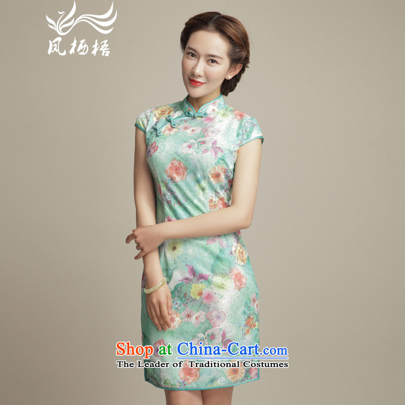 Bong-cycle Hui ( ) migratory 7475 improved qipao?2015 Summer new stylish lace cheongsam dress DQ1597 SUIT?L