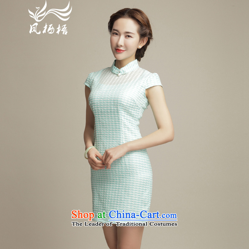 Bong-ju-chen 7475 migratory and stylish look爀legant qipao 2015 summer daily improved Sau San cheongsam dress DQ15103 SKYBLUE燲XL