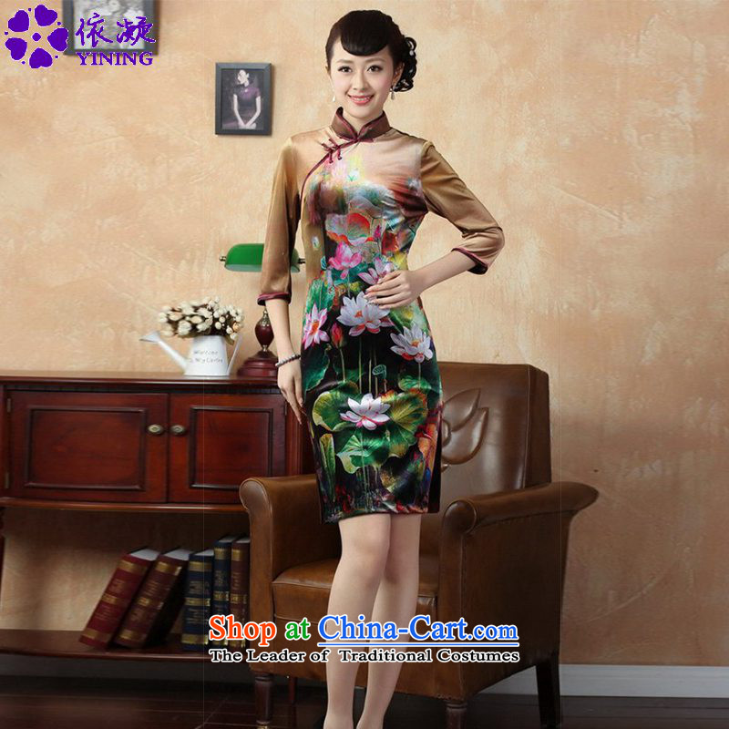 In accordance with the fuser trendy new for women of ethnic improved Tang dynasty cheongsam collar Classic tray clip hand-painted Sau San Tong replacing cheongsam dress聽LGD_TD0009_聽figure聽L