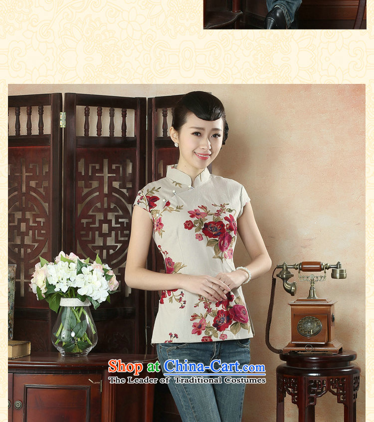 Figure for summer flowers new cheongsam shirt Tang dynasty, Han-improved version of Chinese women's Mock-neck short-sleeved cotton linen Tang dynasty figure colorpictures, prices, XL brand platters! The elections are supplied in the national character of distribution, so action, buy now enjoy more preferential! As soon as possible.