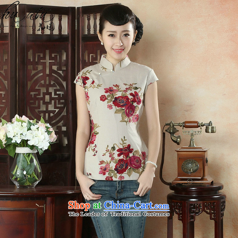 Figure for summer flowers new cheongsam shirt Tang dynasty, Han-improved version of Chinese women's Mock-neck short-sleeved cotton linen Tang Dynasty Figure Color?XL