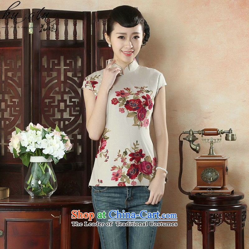 Figure for summer flowers new cheongsam shirt Tang dynasty, Han-improved version of Chinese women's Mock-neck short-sleeved cotton linen Tang Dynasty Figure Color XL, floral shopping on the Internet has been pressed.
