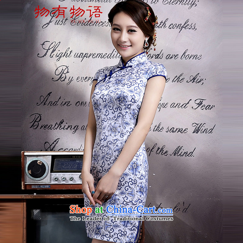 With the CHINESE CHEONGSAM?2015 Spring Antique improved short of daily Tang who decorated porcelain summer couture dresses qipao porcelain?L