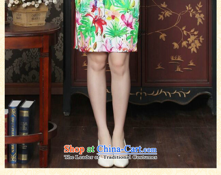 Floral Chinese Silk Cheongsam improved women's Mock-neck herbs extract beautiful summer day-to-day banquet style qipao qipao figure colorL picture, prices, brand platters! The elections are supplied in the national character of distribution, so action, buy now enjoy more preferential! As soon as possible.