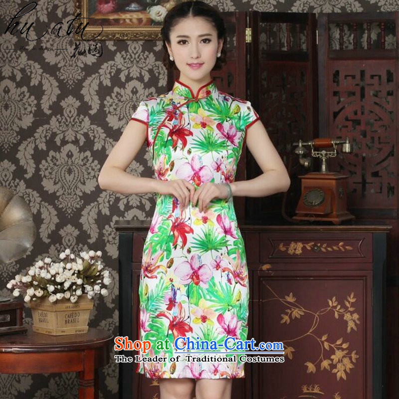 Floral Chinese Silk Cheongsam improved women's Mock-neck herbs extract beautiful summer day-to-day banquet style qipao qipao figure color燣