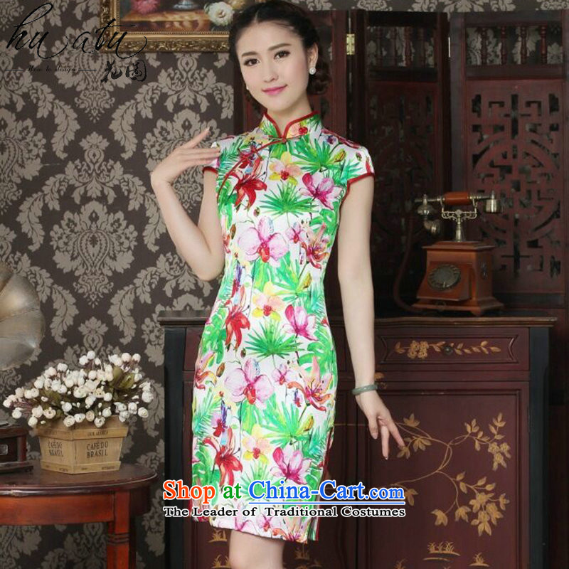 Floral Chinese Silk Cheongsam improved women's Mock-neck herbs extract beautiful summer day-to-day banquet style qipao qipao figure color L, floral shopping on the Internet has been pressed.