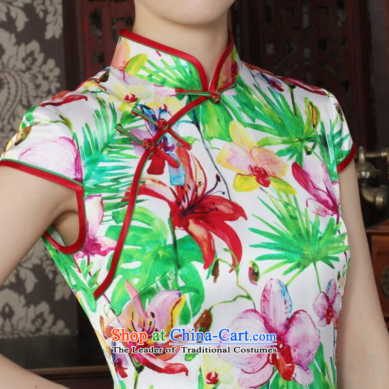 Floral Chinese Silk Cheongsam improved women's Mock-neck herbs extract beautiful summer day-to-day banquet style qipao qipao figure colorL, floral shopping on the Internet has been pressed.