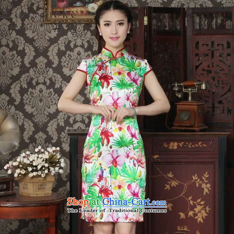 Dan smoke Silk Cheongsam improvement of Chinese women's Mock-neck herbs extract beautiful summer day-to-day banquet style qipao qipao figure color聽L