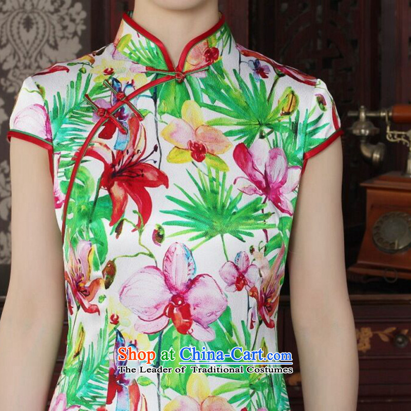 Dan smoke Silk Cheongsam improvement of Chinese women's Mock-neck herbs extract beautiful summer day-to-day banquet style qipao qipao figure color L, Dan Smoke , , , shopping on the Internet