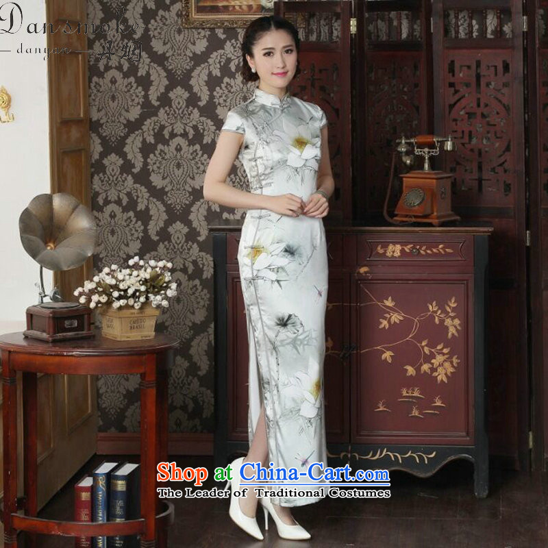 Dan smoke summer new women's dinner long qipao lotus pond and sauna Silk Cheongsam Silk Cheongsam long elegant retro figure color聽M
