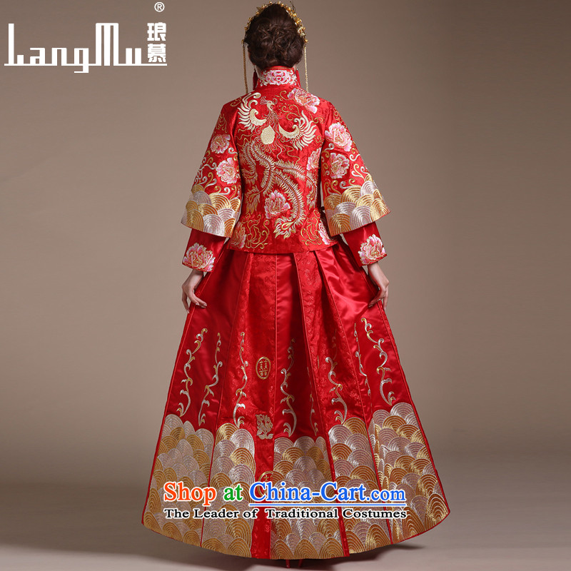 The new 2015 Luang Sau Wo Service Soo kimono dragon use Chinese wedding dresses retro bride bows services lace luxury petticoats聽M, Luang in , , , shopping on the Internet