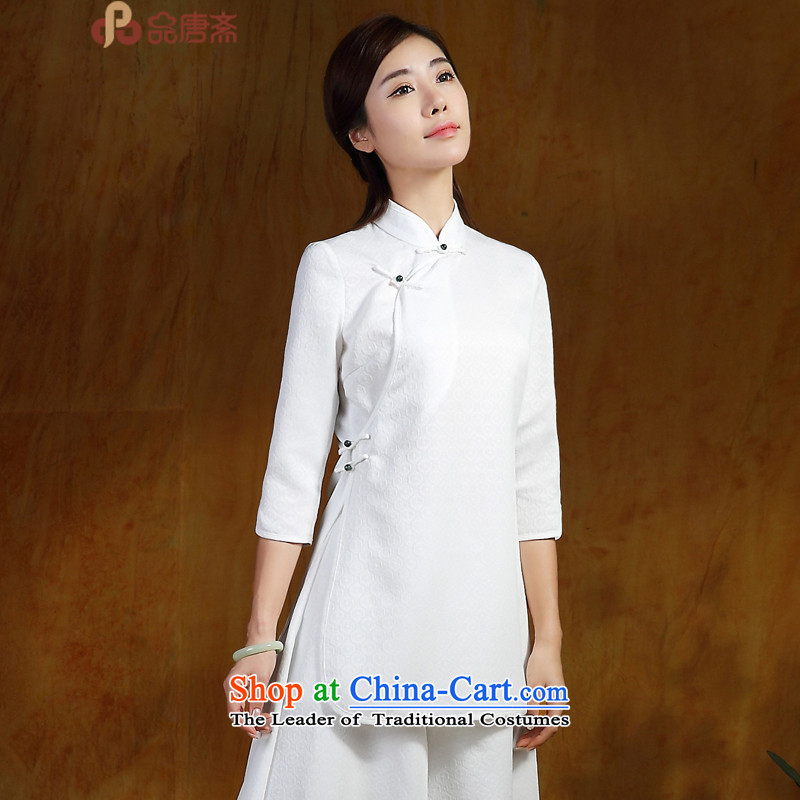 No. of Ramadan Chinese Tang Tang Women's clothes China wind in the retro long 7 Improved Han-sleeved shirt qipao white?L