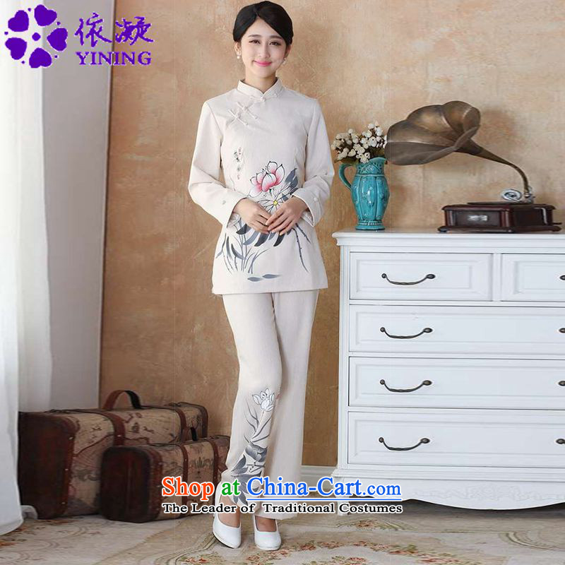 In accordance with the fuser trendy new for women retro improved Tang dynasty qipao gown is a mock-neck disc detained Sau San Tong Boxed Kit?WNS/2508-1# kit beige?L