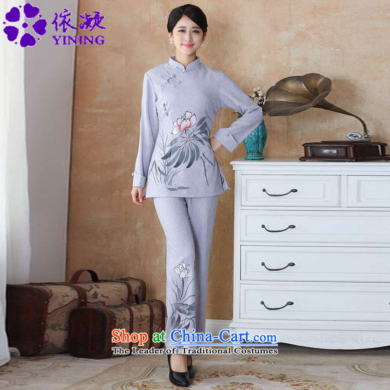In accordance with the new spring and autumn gel women of ethnic improved Tang dynasty Mock-neck hand-painted Sau San Tong load long-sleeved shirt WNS/2508-2# Kit Kit Gray 4XL