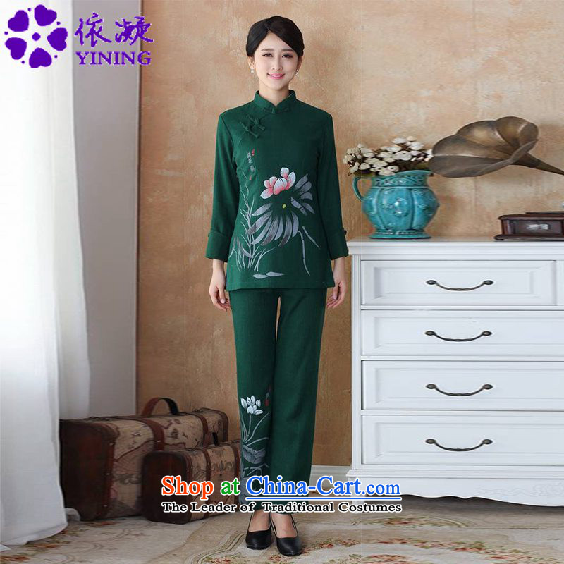 In accordance with the fuser trendy new for women of ethnic Chinese Tang dynasty improved cotton linen ink stamp mount kit?WNS/2508-3# Tang Kit?3XL Emerald