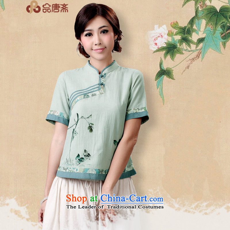 Tang Tang Dynasty Ramadan No. female summer China wind retro-fit short cotton linen clothes gray-blue燲XXL Cheongsam