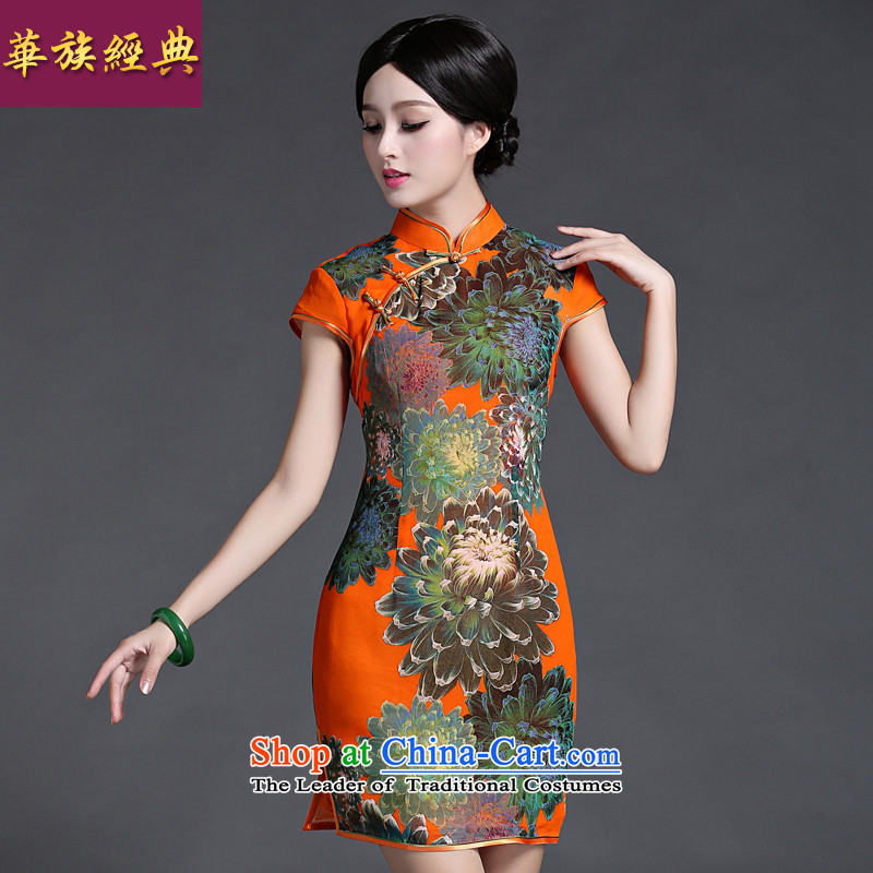 China Ethnic classic spring and summer new daily short of Ms. cheongsam dress retro improved stylish and elegant arts van orange燲L