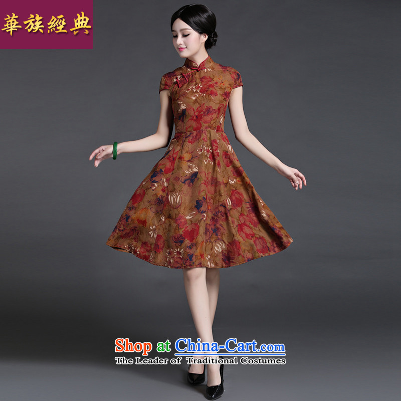 China Ethnic Chinese Retro classic 2015 Sau San arts silk ethnic short-sleeved dresses girl Summer Scent of small wind suit燣