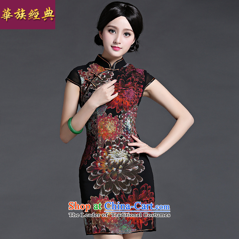 China Ethnic classic spring and summer load short-sleeved Ms. shoulder even cheongsam dress Chinese Antique improved daily short, thin black graphics燲XL