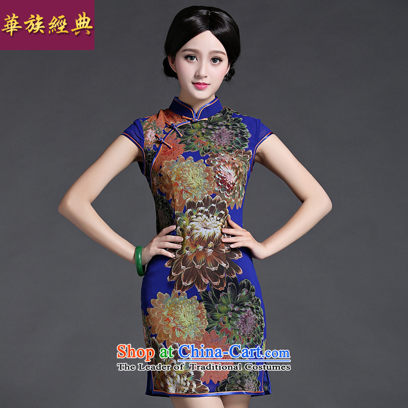 Chinese Classic retro-to-day cheongsam dress improved daily video thin female short spring and summer, elegant graphics thin Sau San blue?XL