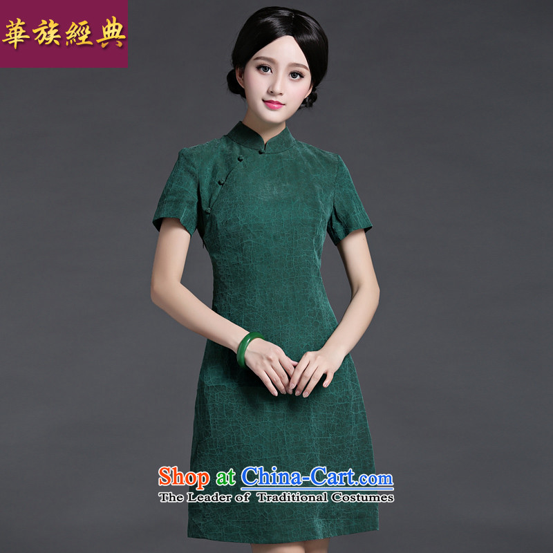 Chinese classic elegance of silk-heung-cloud yarn Chinese daily cheongsam dress short of Ms. 2015 Spring_Summer new green燲XXL