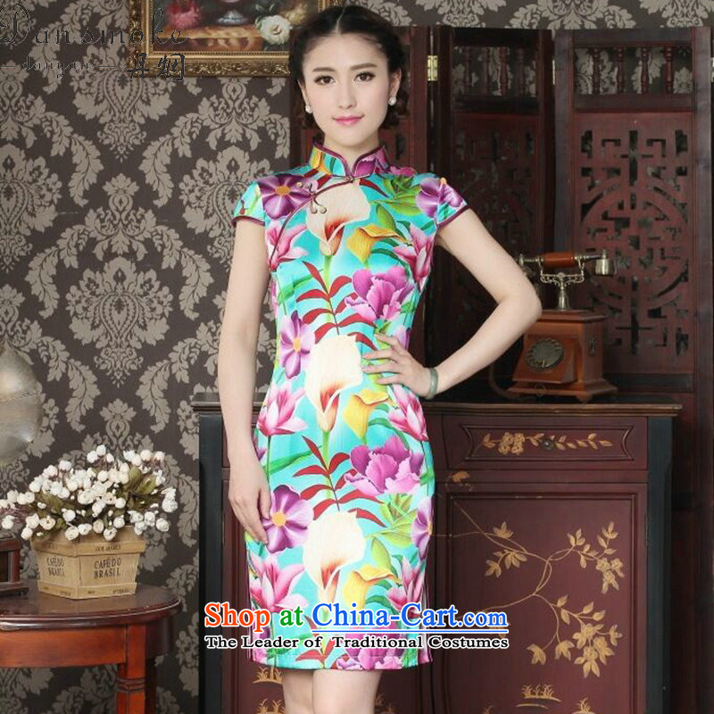 Dan smoke Women's Summer New Silk Cheongsam and fashion Chinese qipao improved Mock-neck herbs extract banquet qipao figure color燤