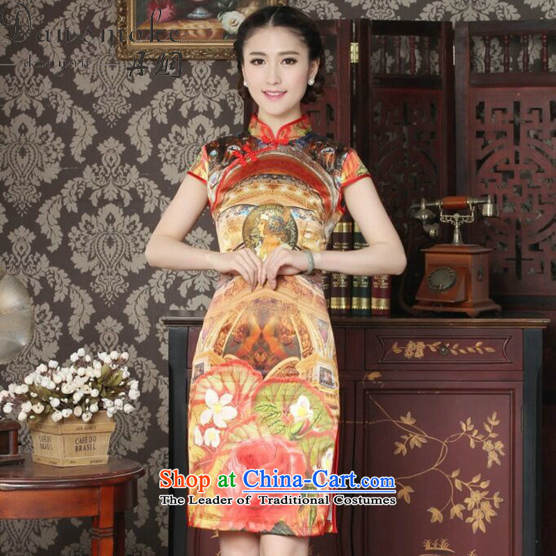 Dan smoke Silk Cheongsam summer new women's Chinese collar improved stylish western daily banquet qipao qipao figure color?M