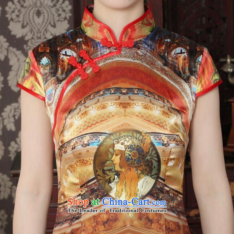 Dan smoke Silk Cheongsam summer new women's Chinese collar improved stylish western daily banquet qipao qipao figure color聽M Dan Smoke , , , shopping on the Internet