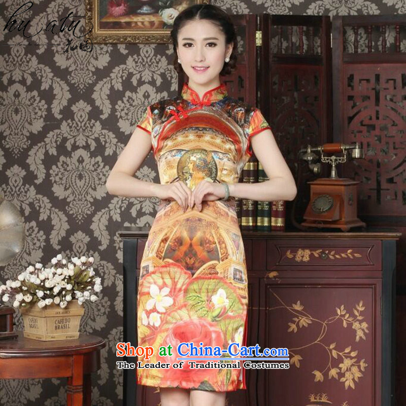 Floral Silk Cheongsam summer new women's Chinese collar improved stylish western daily banquet qipao qipao figure color?M