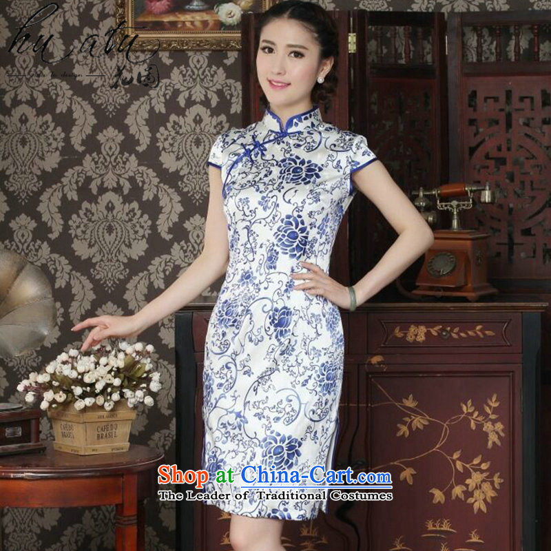 Floral silk cheongsam dress summer qipao Chinese collar daily banquet antique porcelain sauna Silk Cheongsam porcelain燬