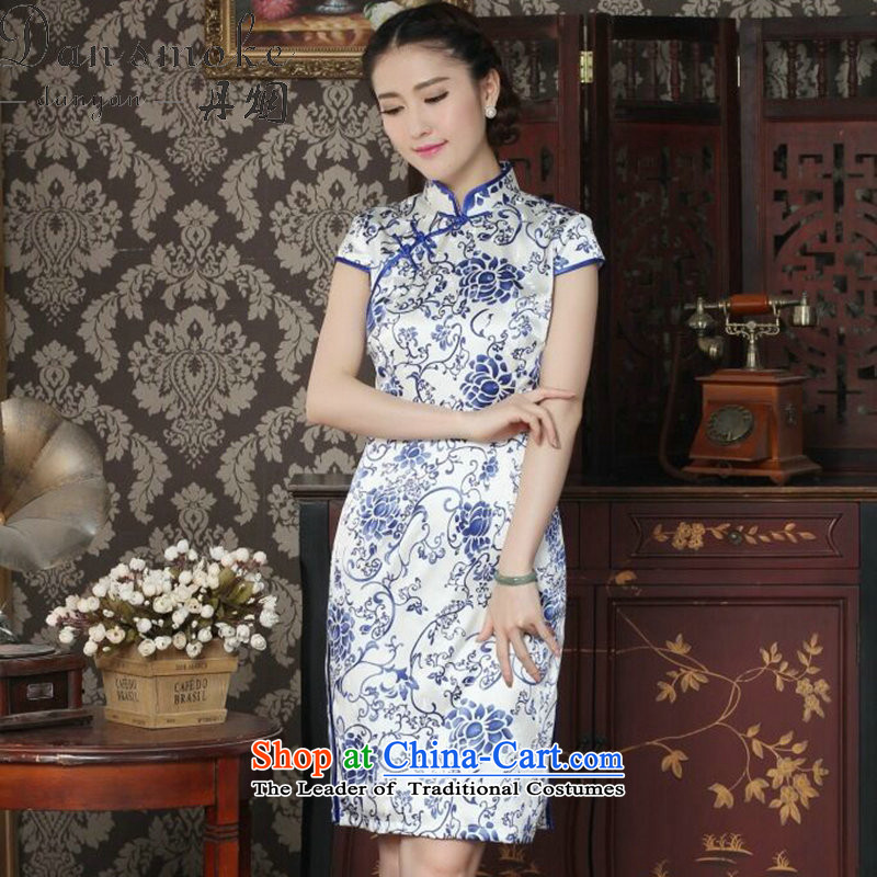 Dan smoke silk cheongsam dress summer qipao Chinese collar daily banquet antique porcelain herbs extract qipao figure color?M