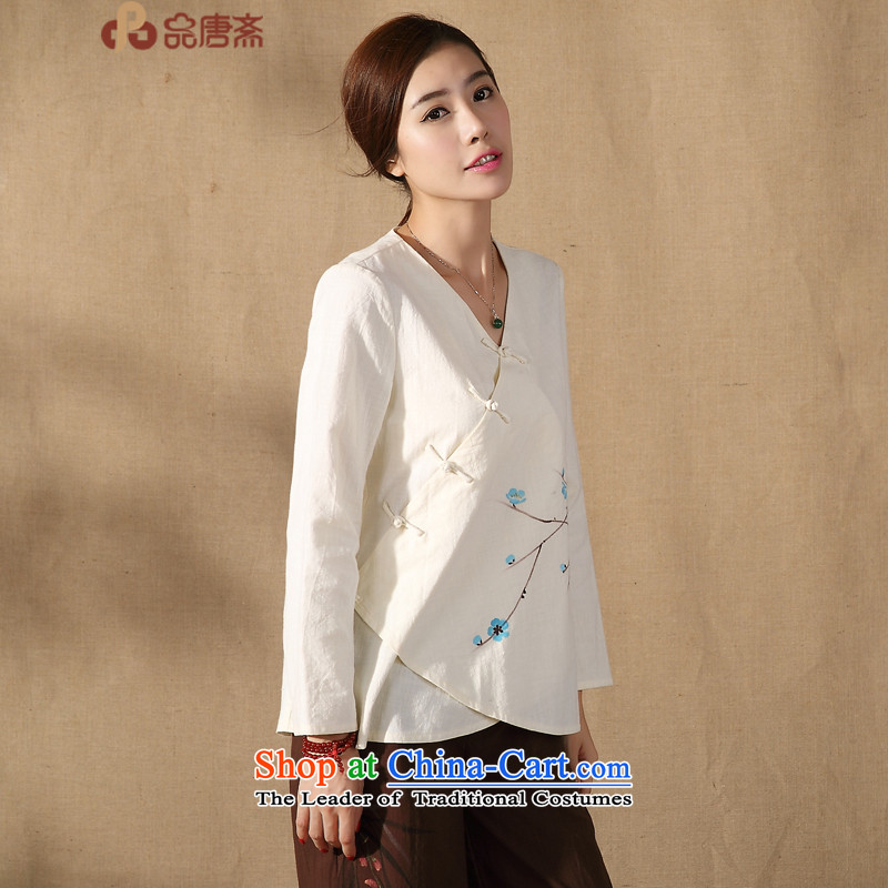 Tang Tang Dynasty Ramadan No. female long-sleeved shirt with the new nation of autumn wind improved Han-apricot?M