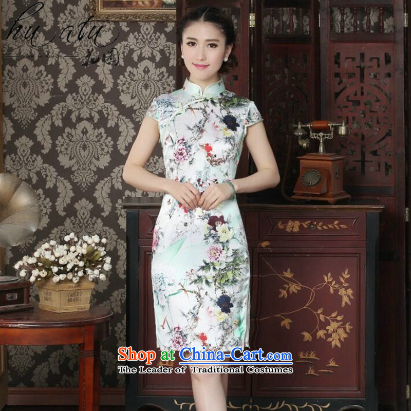Floral women cheongsam Silk Cheongsam Chinese improved collar summer manually disc detained suit modern sauna Silk Cheongsam Figure Color?L