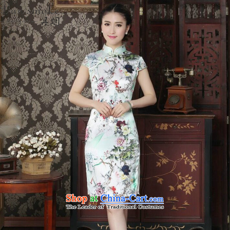 Dan smoke silk cheongsam dress qipao Chinese improved collar summer manually disc detained suit modern sauna Silk Cheongsam Figure Color?XL