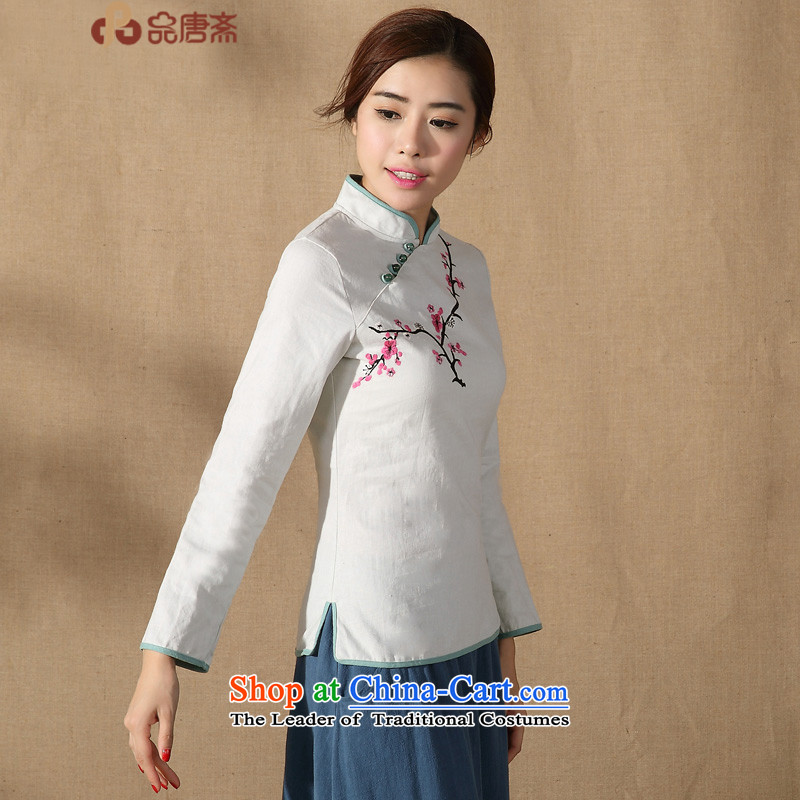 No. of Ramadan 2015 spring outfits Tang new cotton linen Tang Dynasty Chinese women's long-sleeved improved Han-Sau San qipao shirt light gray燲L