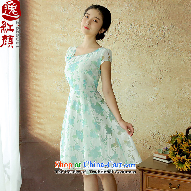A Pinwheel Without Wind Flower Yat yarn new dresses China wind female white-collar occupations skirt summer ethnic fresh small blue?S