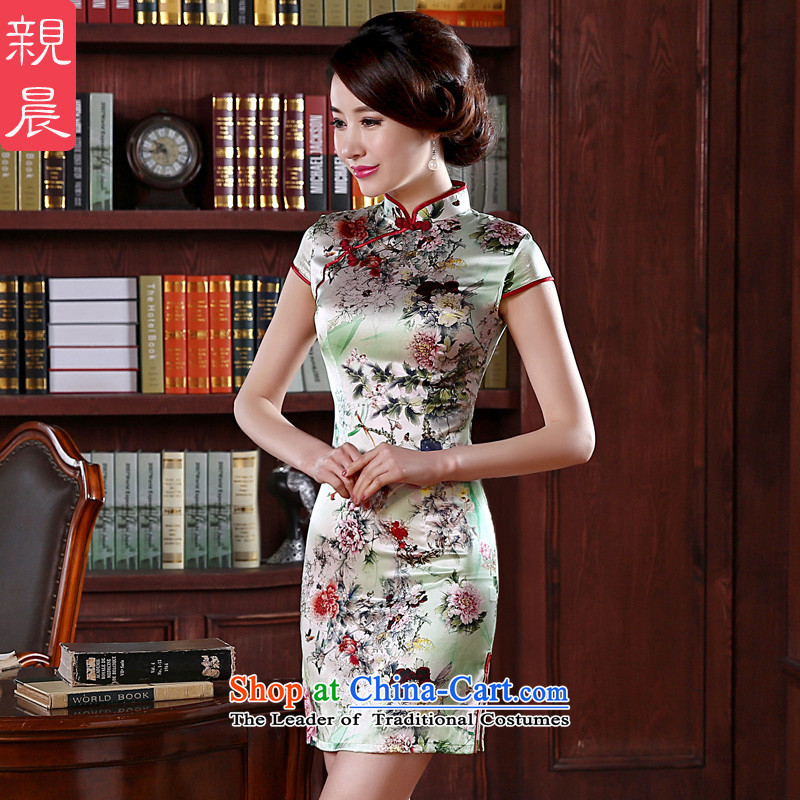 At 2015 new pro-silk cheongsam dress in summer and autumn replacing herbs extract the women's short skirt improved retro short,燲L