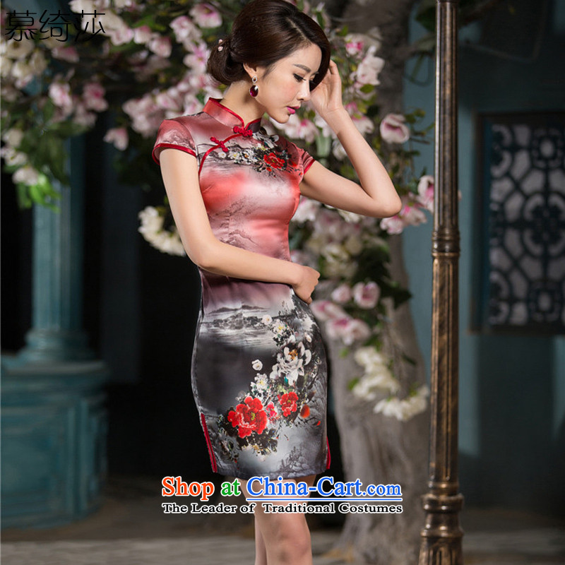 The cross-sa afterclang qipao new 2015 summer short of improvement and Stylish retro Silk Cheongsam Chinese ink爏z C1520爎ed燲L
